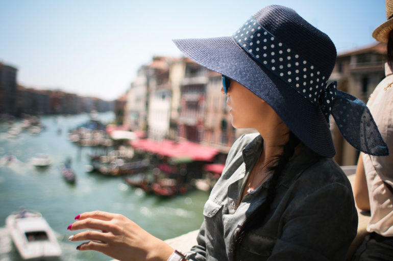 Girl on Rialto Bridge, Venice, Italy